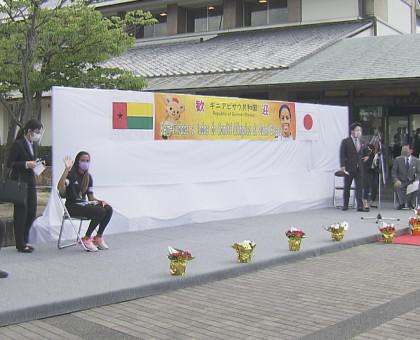 岡山県総社市 柔道女子・ギニアビサウ五輪代表を歓迎