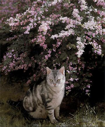 藤原秀一《萩と猫》