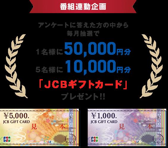 アンケートに答えた方の中から毎月抽選でJCBギフトカードをプレゼント