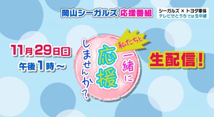 11月29日 岡山シーガルズのホーム戦を生中継!YouTubeでも生配信!